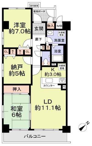 ユニライフ堺・宿院5階部分 間取り
