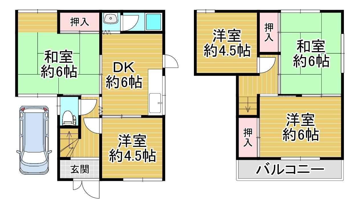 上野芝1-22-4戸建 間取り